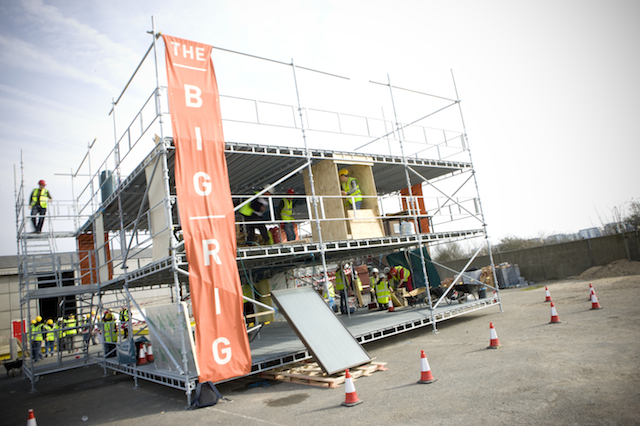 Image of the Big Rig, a three-storey scaffolding frame