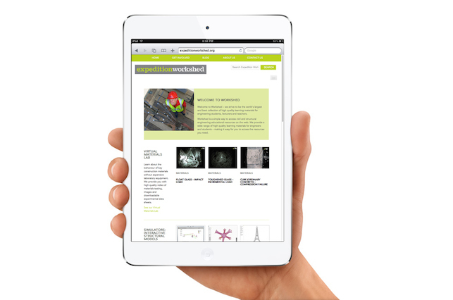 Image showing an iPad on which the Expedition Workshed website is displayed