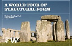 Photo of the cover sheet for the World Tour of Structural Form workshop briefing pack, featuring an image of stonehenge