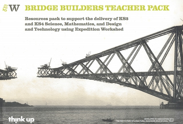 Cover of the Bridge Builders Teacher Pack, featuring a photo of the Forth Rail Bridge part-way during its construction