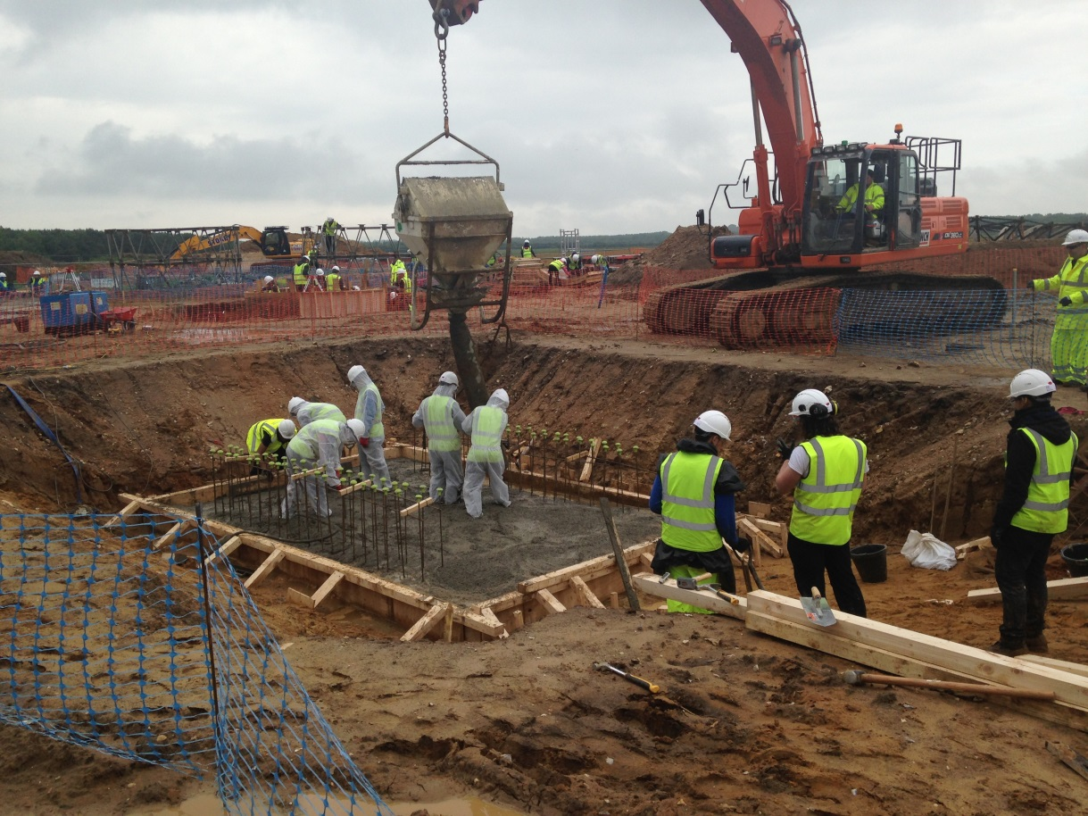 Concreting the Don Valley Stadium base slab